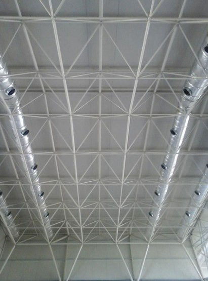 Indoor view of cladding for space frame