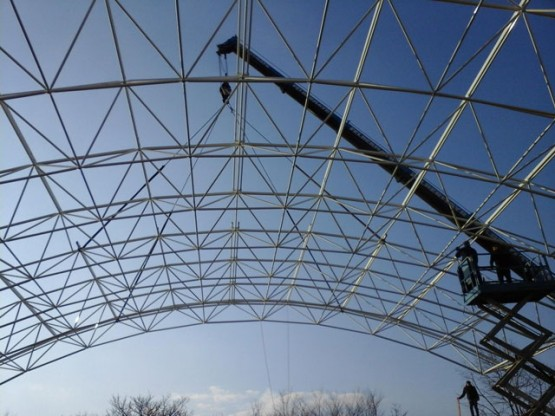 Erection of space frame in Crangas, Bucharest