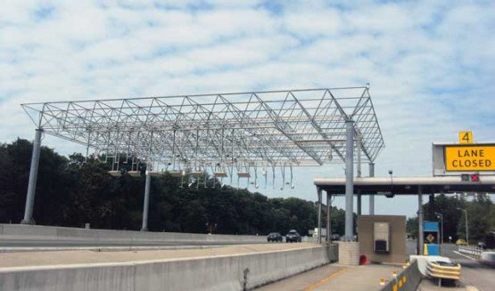 Space frame toll station in Spring Valley, New York