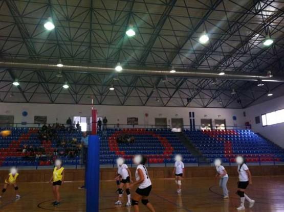 Space frame roof structure for indoor stadium in Santorini