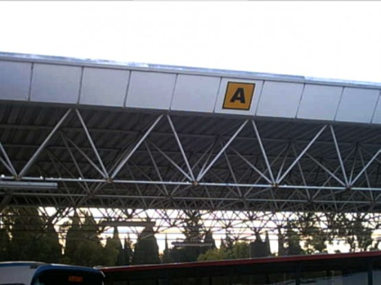 Space frame covering the bus terminal at the Corfu Airport
